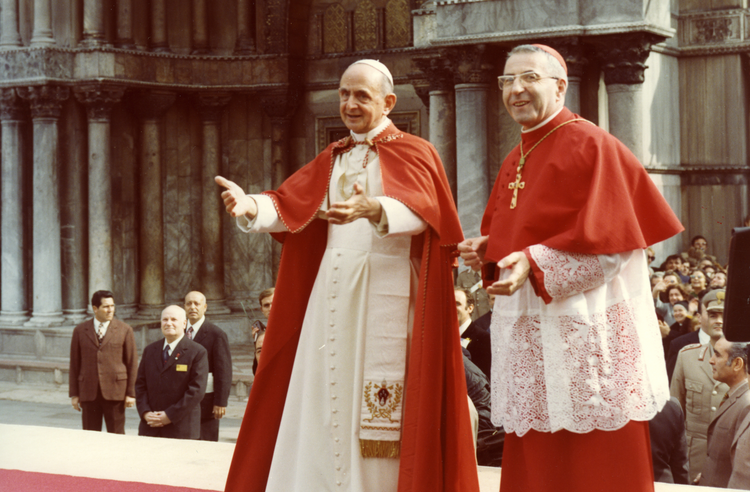 Pope Paul VI and Archbishop Albino Luciani, the future Pope John Paul I, are pictured in Venice in September 1972 (CNS photo).