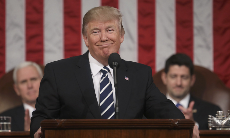 President Donald Trump delivers his first address to a joint session of Congress Feb. 28 in Washington (CNS photo/Jim Lo Scalzo pool via Reuters).