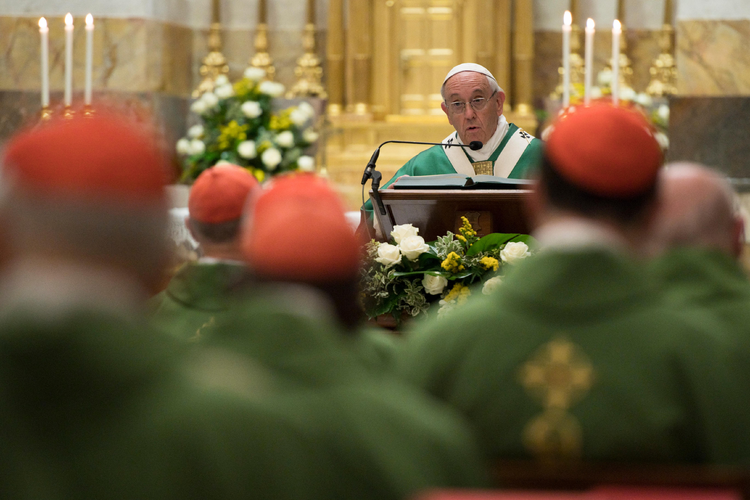 Pope Francis speaks as he celebrates Mass with about 50 cardinals in the Pauline Chapel of the Apostolic Palace at the Vatican June 27. The Mass marked the pope's 25th anniversary of his ordination as a bishop. (CNS photo/L'Osservatore Romano)