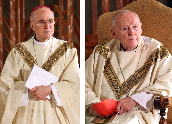 Archbishop Carlo Maria Vigano, then nuncio to the United States, and then-Cardinal Theodore E. McCarrick of Washington, are seen in a combination photo during the beatification Mass of Blessed Miriam Teresa Demjanovich at the Cathedral Basilica of the Sacred Heart in Newark, N.J., Oct. 4, 2014. (CNS photo/Gregory A. Shemitz)