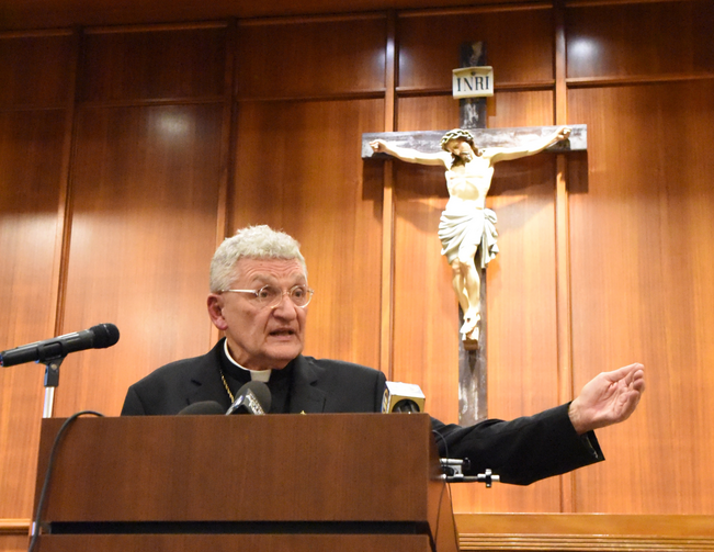 Bishop David A. Zubik of Pittsburgh addresses the media Aug. 14 at the pastoral center in Pittsburgh. (CNS photo/Chuck Austin, Pittsburgh Catholic)