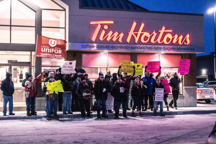 Hortons hears a Fight for $15. Photo courtesy of Denise Martins