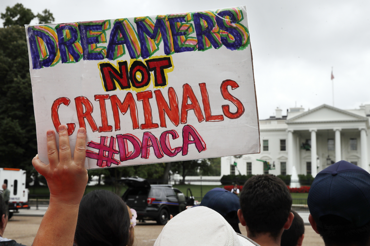 A demonstration in support of the DACA program took place in front of the White House on Aug. 15. (AP Photo/Jacquelyn Martin, File)