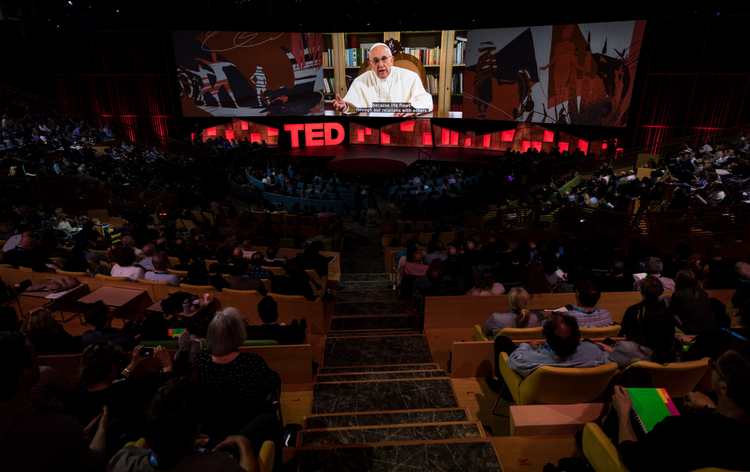 In a video, His Holiness Pope Francis speaks at TED2017, April 25, 2017, Vancouver, BC, Canada. Photo: Ryan Lash / TED