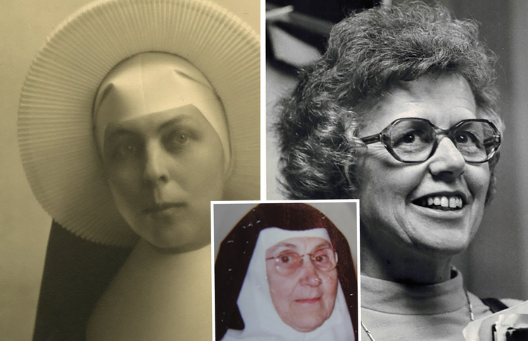 Pictured from left: Mary Madeleva Wolff, C.S.C., Jessica Powers (Sister Miriam of the Holy Spirit) and Madeline DeFrees (Mary Gilbert, S.N.J.M.) (photos: Saint Mary's College archives/Wikipedia/Madelinedefrees.com).