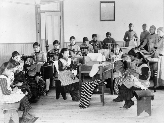 An Indian Residential school run by the church in the Northwest Territories, year unknown. Credit: Canada. Dept. of Mines and Technical Surveys / Library and Archives Canada