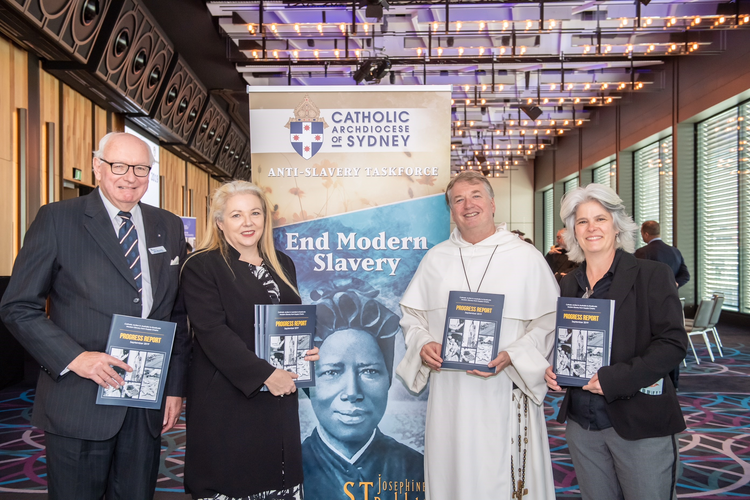 Members of the Archdiocese of Sydney's Anti-Slavery Taskforce: John McCarthy (chair), Alison Rahill (executive officer), Archbishop Anthony Fisher, O.P., and Jenny Stanger (executive manager). (Photo courtesy of the Archdiocese of Sydney)