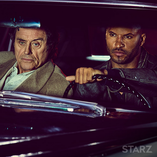 "Mr. Wednesday (Ian McShane) and Shadow Moon (Ricky Whittle) in ""American Gods"""