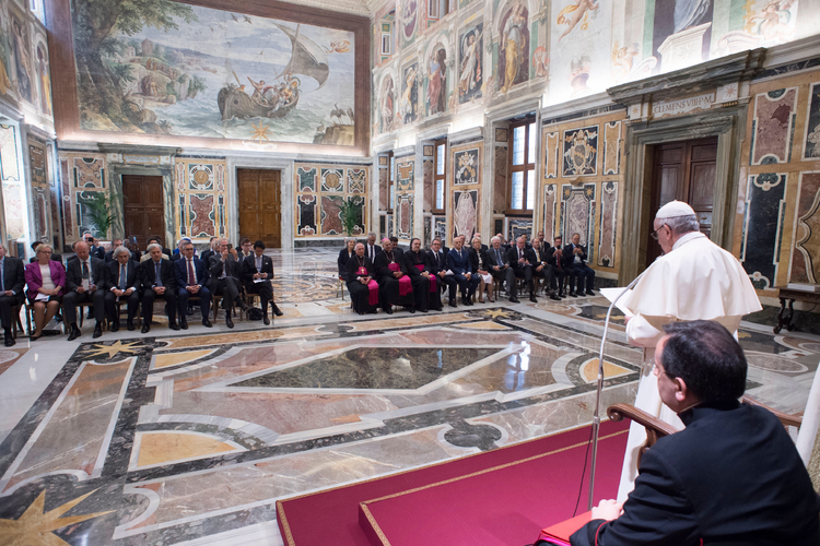 Pope Francis meets with energy executives in Rome. Photo courtesy ofVatican Media.