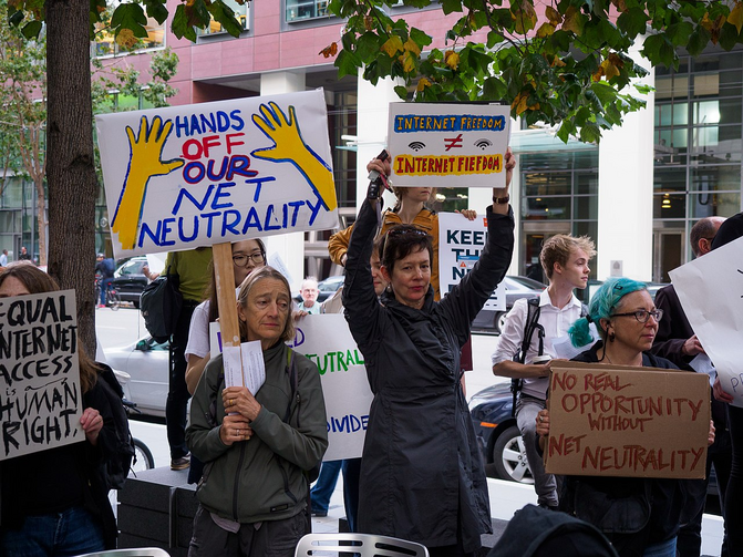 "Demonstrators join a ""protect net neutrality"" rally in San Francisco in September 2017. Photo courtesy of wikicommons."