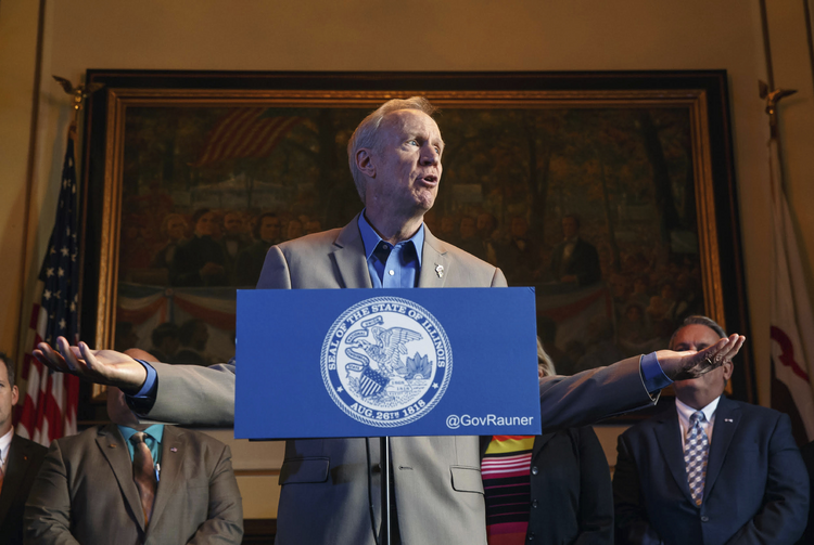 Illinois Gov. Bruce Rauner speaks on July 26,  on the first day of a special session on education funding at the state Capitol. (Justin Fowler/The State Journal-Register via AP, File)