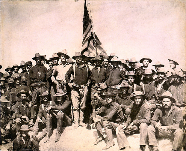 Colonel Roosevelt and his Rough Riders at the top of the hill which they captured, Battle of San Juan (photo: Library of Congress).