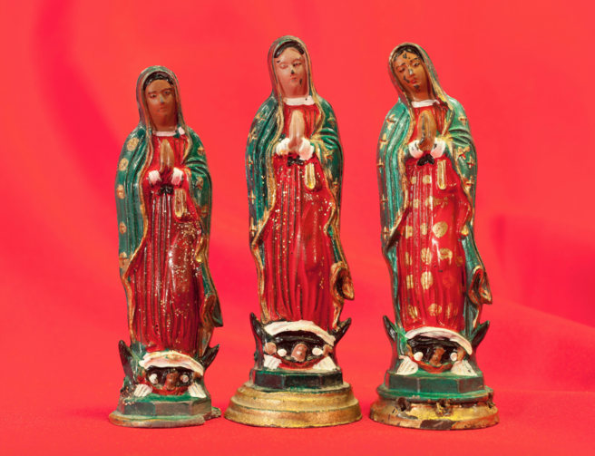 "Personal property such as these figurines of Our Lady of Guadalupe are considered ""non-essential"" and confiscated from detained migrants. (Courtesy of Tom Kiefer)"