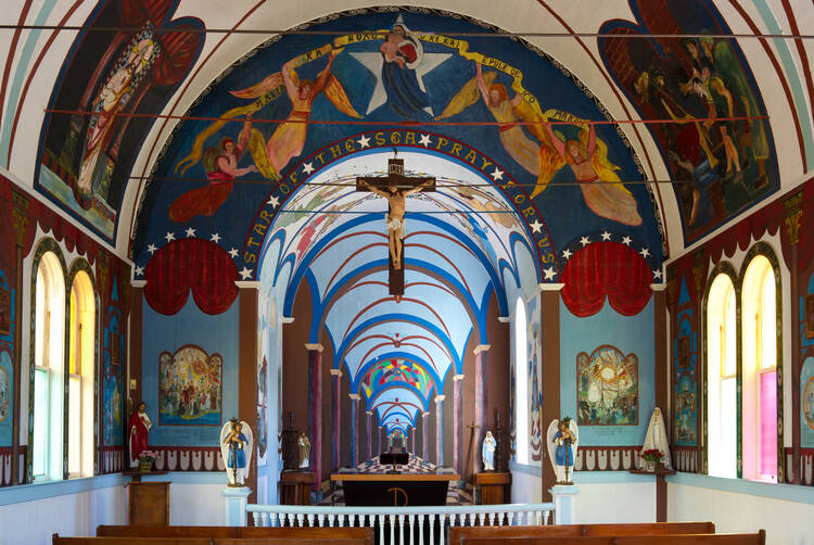 Interior view of the Star of the Sea Painted Church, Big Island, Hawaii. Photo by Frank Schulenburg (Wikicommons)