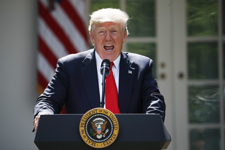 President Donald Trump speaks about the U.S. role in the Paris climate change accord on Thursday, June 1, 2017, in the Rose Garden of the White House in Washington. (AP Photo/Pablo Martinez Monsivais)