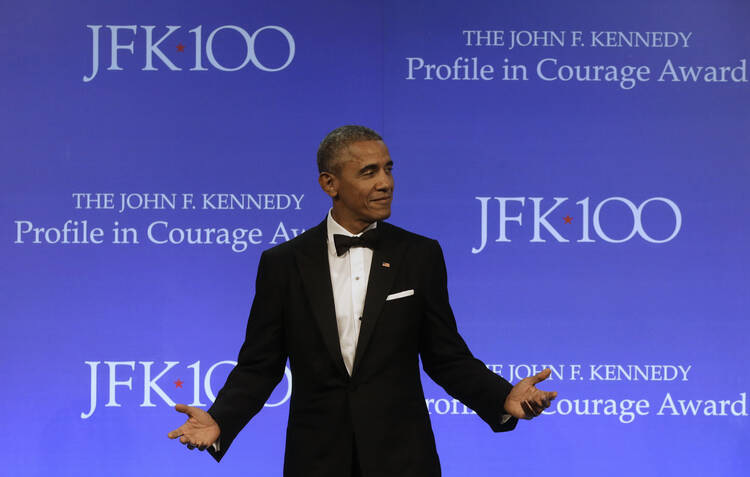 Former President Barack Obama accepts the 2017 Profile in Courage award at the John F. Kennedy Presidential Library and Museum. (AP Photo/Steven Senne)