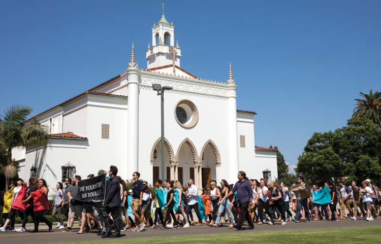 Students at Loyola Marymount University organized a march of solidarity in support of undocumented immigrants.