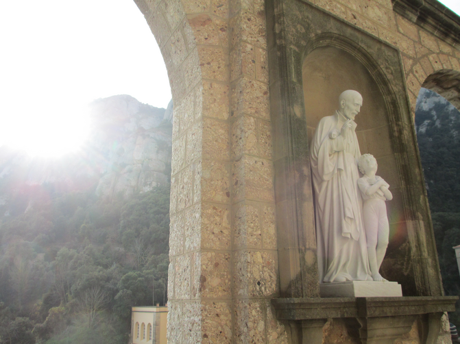 Outside the Benedictine Abbey at Montserrat, in Montserrat, Spain, where St. Ignatius laid down his sword and armor. Photo by Matt Emerson.