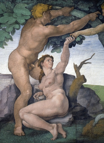 """The Disobedience of Adam and Eve,"" Michelangelo's fresco on the ceiling of the Sistine Chapel (CNS photo/courtesy of the Vatican Museums)"