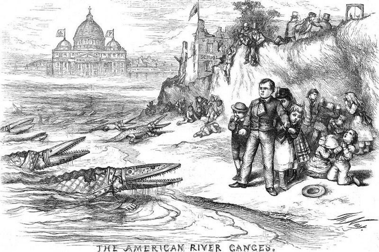 """The American River Ganges,"" Harper's Weekly, September, 1871 by Thomas Nast."