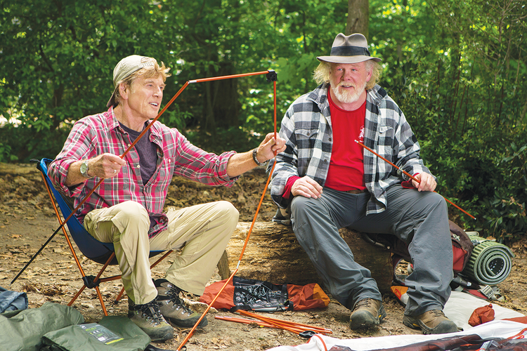 "ROAD WARRIORS. Robert Redford and Nick Nolte on the Appalachian Trail in ""A Walk in the Woods."""