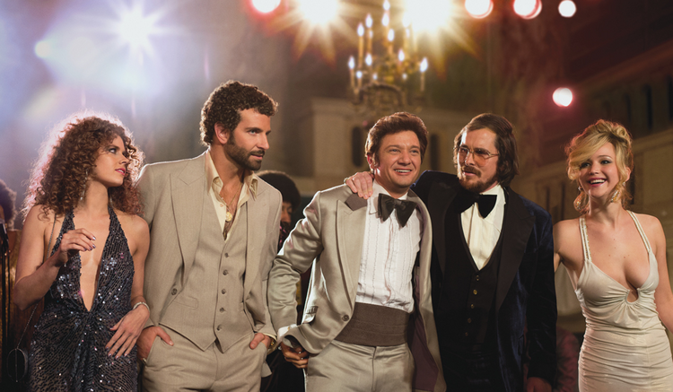 "BOOGIE FRIGHTS. Amy Adams, Bradley Cooper, Jeremy Renner, Christian Bale and Jennifer Lawrence in ""American Hustle"""