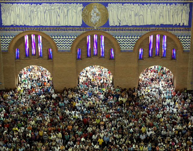 COMING TO LIFE. The basilica cathedral in Aparecida, Brazil, during the local Marian feast, Oct. 12, 2006.