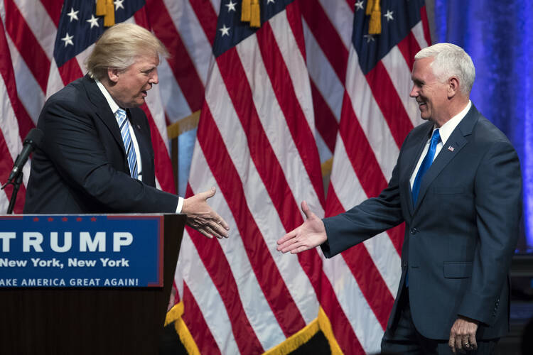 Expected Republican presidential nominee Donald J. Trump awkwardly introduced his running mate, Indiana Gov. Mike Pence, on Saturday. Will this week's Republican National Convention be better orchestrated? (AP Photo/Evan Vucci)