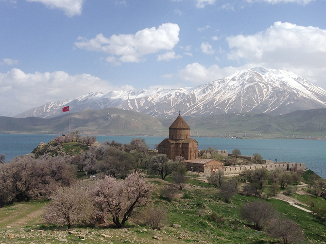 The Armenian Church of the Holy Cross on Akdamar Island, Lake Van in Turkey. Religion News Service photo by Tania Karas