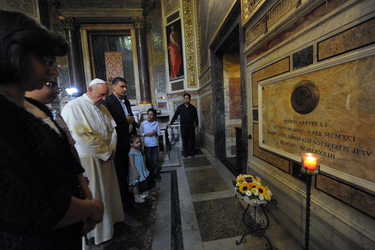 Pope prays at tomb of Father Pedro Arrupe, superior general of the Jesuits from 1965 to 1983