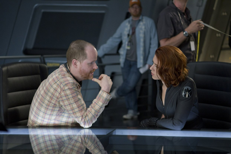 Director Joss Whedon and Scarlett Johansson as Black Widow