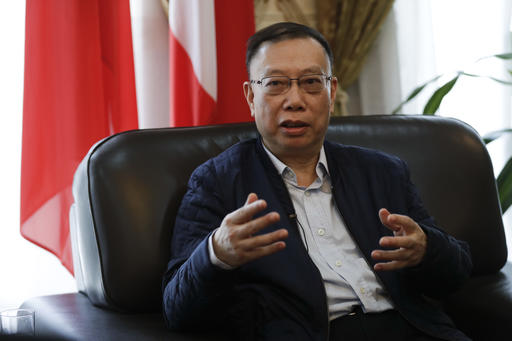 Professor Huang Jiefu, Chairman of the Chinese National Organ Donation and Transplantation Committee, talks during an interview with The Associated Press, at the Chinese embassy to Italy, in Rome, Monday, Feb. 6, 2017. (AP Photo/Andrew Medichini)
