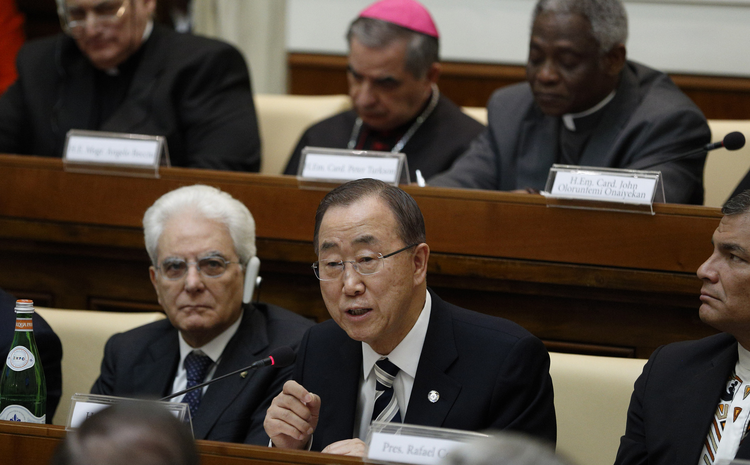 U.N. Secretary-General Ban Ki-moon addresses an April 28 summit on the moral dimensions of climate change and its impact on the poor. Also pictured is Italy's President Sergio Mattarella, lower left. (CNS photo/Paul Haring)