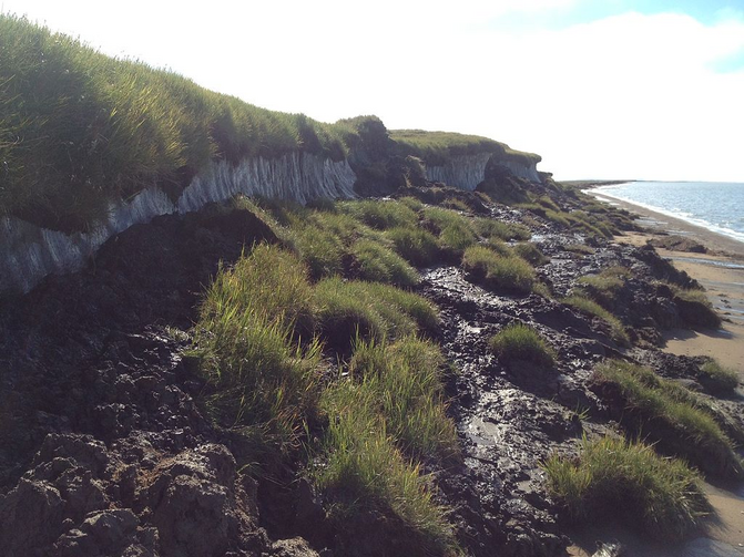 Rapidly thawing Arctic permafrost and coastal erosion on the Beaufort Sea, Arctic Ocean, near Point Lonely, AK. Photo Taken in August, 2013.
