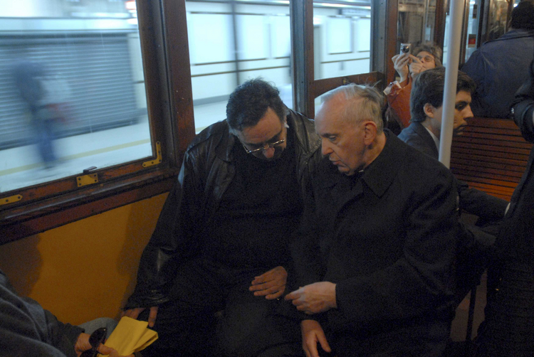 Argentine Cardinal Bergoglio, now Pope Francis, pictured travelling by subway in Buenos Aires.