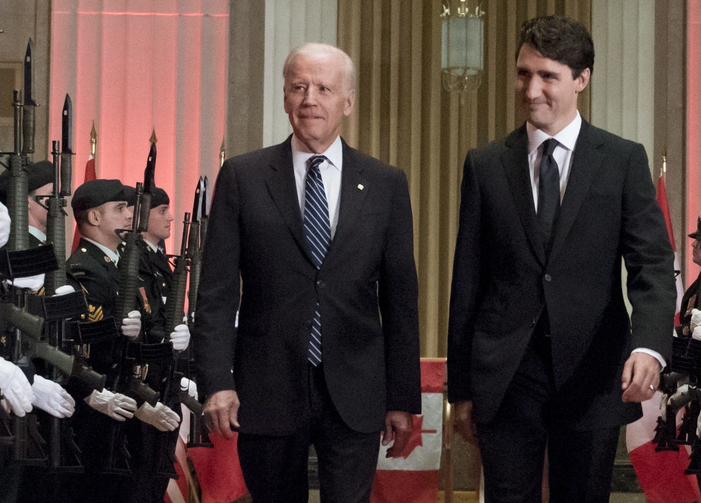 We're Looking to You, Kid. Prime Minister Justin Trudeau and U.S. Vice-President Joe Biden arrive at a state dinner on Thursday, Dec. 8, 2016 in Ottawa. (Justin Tang/The Canadian Press via AP)