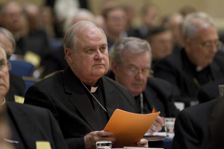 Bishop Robert W. Muench of Baton Rouge, La., attends the U.S. Conference of Catholic Bishops annual fall meeting in Baltimore in November 2010. (CNS photo/Nancy Wiechec)