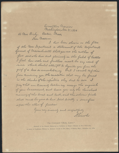 A facsimile of the Bixby Letter