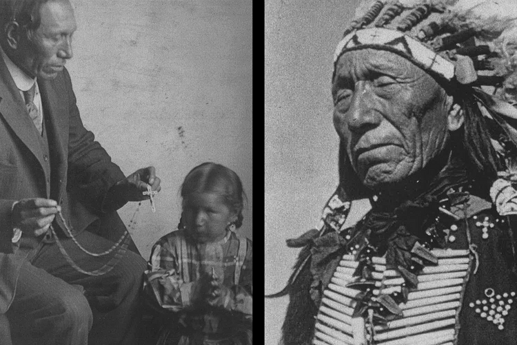 Black Elk as a Catholic teacher and as a Lakota leader. (Left photo: Marquette University Archives, Bureau of Catholic Indian Mission Records, ID 00559; right photo: Marquette University Archives, Bureau of Catholic Indian Mission Records, ID 01287/Ben Hunt)