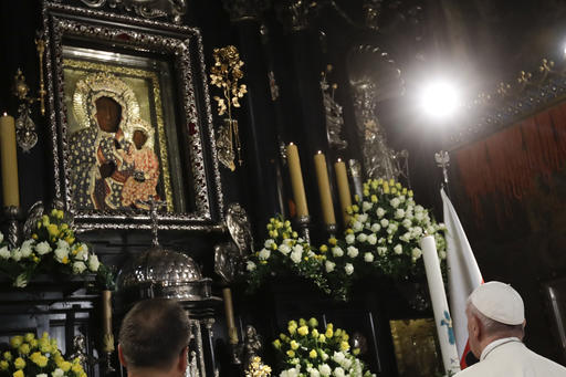 "Pope Francis addressed more than 300,000 Poles in his homily at Mass at the famous shrine of the Black Madonna of Czestochowa, which he called ""the spiritual capital of the country"" (AP Photo/Gregorio Borgia, Pool)."