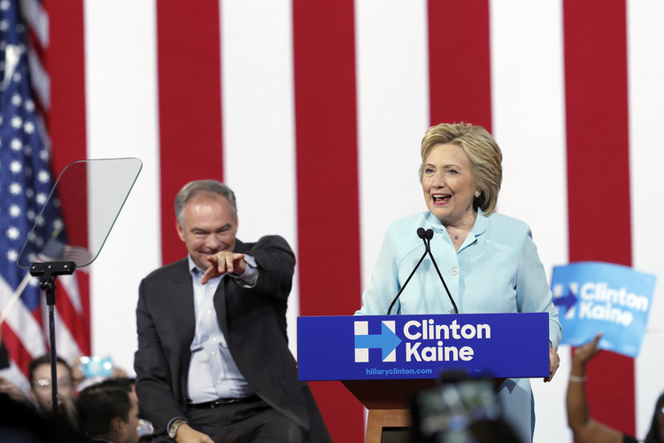 Hillary Clinton is signaling stability rather than a crisis mode with her choice of Virginia Sen. Tim Kaine as a running mate. (AP Photo/Mary Altaffer)