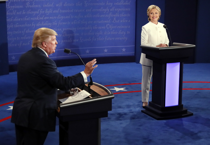 Point Taken. Republican presidential nominee Donald Trump debates Democratic presidential nominee Hillary Clinton during the third presidential debate at UNLV in Las Vegas, Wednesday, Oct. 19, 2016. (Mark Ralston/Pool via AP)