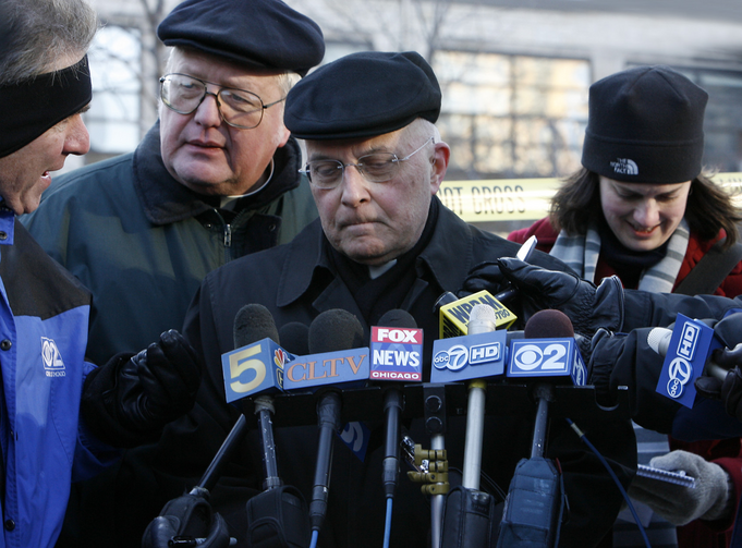 Cardinal Francis George of Chicago speaks to local media in February 2009. The case of former priest Daniel McCormack represented a significant breakdown of the child protection policies he had approved for the archdiocese. (CNS photo/Karen Callaway, Catholic New World)