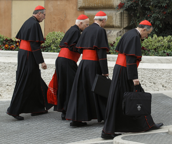 U.S. Cardinals Roger M. Mahony, Francis E. George, Donald W. Wuerl and Daniel N. DiNardo arrive for a general congregation meeting March 5. (CNS photo/Paul Haring)