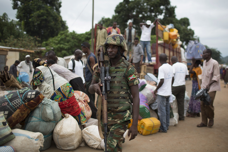 African Union troops supervise an evacuation in early May in Bangui.