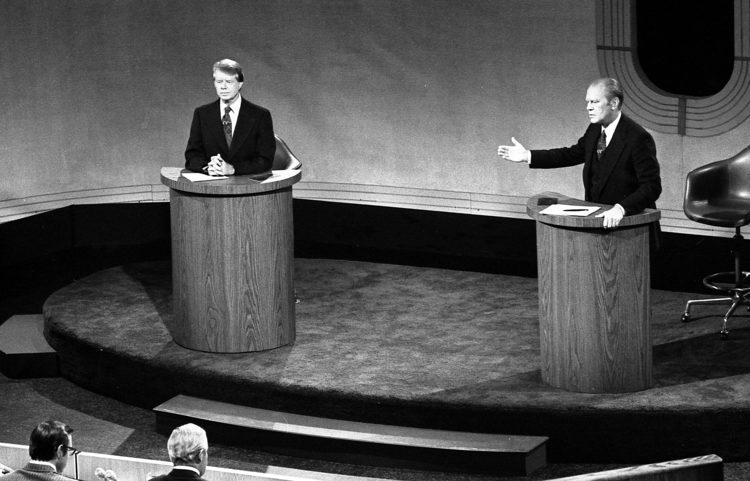 Carter and Ford debate domestic policy at the Walnut Street Theatre in Philadelphia. (WikiCommons photo)