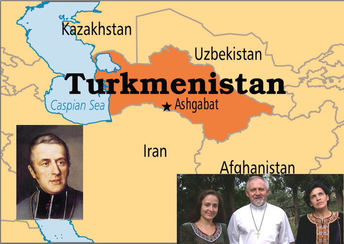 A Catholic Community in Turkmenistan. At left, the founder of the Order of the Missionary Oblates of Mary Immaculate, St. Eugene de Mazenod, and at right, Andrzej Madej, O.M.I., with parishioners in Ashgabat, Turkmenistan's capital city.