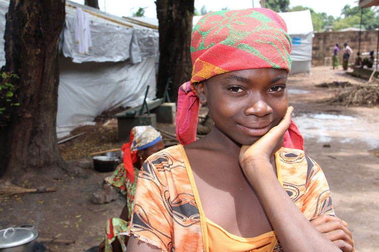 A young girl at a camp for displaced people in Bangui, Central African Republic in May 2014 (Photo by Kevin Clarke)