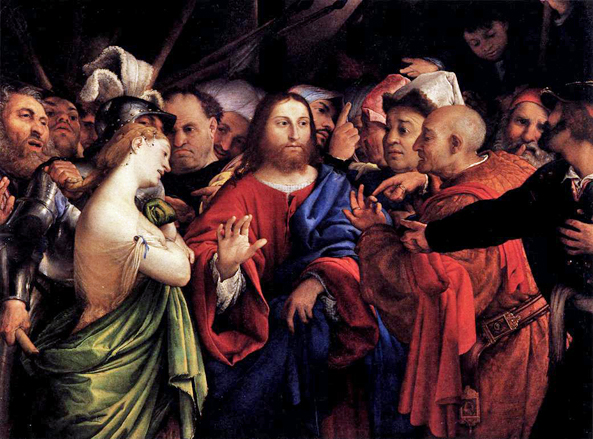 Jesus and the Woman Taken in Adultery by Lorenzo Lotto 1528