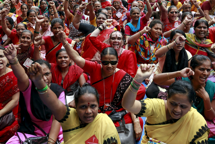 Workers from various trade unions shout slogans during an anti-government protest rally, organized as part of a nationwide strike, in Mumbai, India, Sept. 2. (CNS photo/Danish Siddiqui, Reuters)